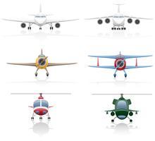 stel pictogrammen vliegtuig en helikopter vectorillustratie
