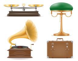 huishoudelijke apparaten oude retro vintage set pictogrammen voorraad vector illustratie