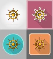 stuurwiel voor schip plat pictogrammen vector illustratie