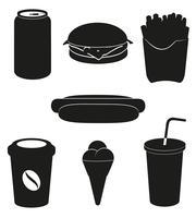 stel pictogrammen van vectorillustratie van het snel voedsel de zwarte silhouet