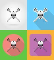 lacrosse apparatuur plat pictogrammen vector illustratie