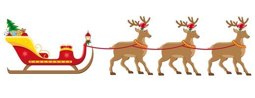 Christmassanta slee met rendieren vectorillustratie