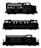 pictogrammen instellen spoorweg locomotief trein zwarte omtrek silhouet vectorillustratie