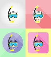 masker en buis voor duiken platte iconen vector illustratie