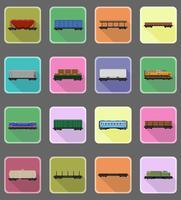 pictogrammen instellen spoorweg vervoer trein plat pictogrammen vector illustratie