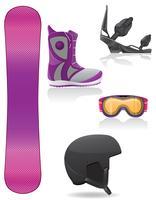 stel pictogrammen apparatuur voor snowboarden vectorillustratie