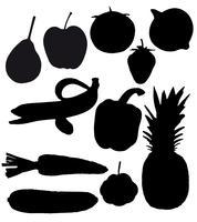 groenten en fruit zijn zwarte silhouetten vector