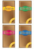chocolade in verpakking met gekleurde etiketten vector