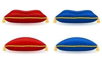 rood blauw fluweel kussen met gouden touw en kwasten vector illustratie