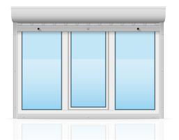 plastic venster achter metalen geperforeerde rollende luiken vectorillustratie
