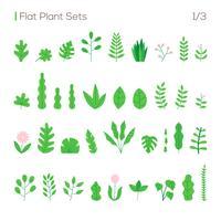 vector set van verschillende bladeren en planten in een vlakke stijl. planten geïsoleerd op witte achtergrond instellen.