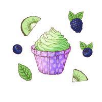 Stel cupcake bosbes blackberry kiwi. Vector illustratie. Handtekening