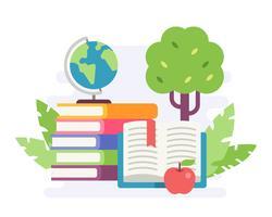 Illustratie van een stapel boeken met een appel en een minibol op aardachtergrond. Vlakke stijl illustratie
