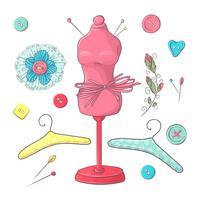 Set mannequin naai-accessoires. Handtekening. Vector illustratie