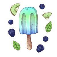 Stel ijs bosbes blackberry kiwi. Vector illustratie. Handtekening