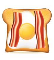 toast met spek en ei vectorillustratie
