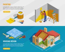 Home Renovatie isometrische horizontale banners vector