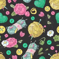 Naadloze patroon met de hand gemaakte gebreide bloemen en elementen en toebehoren voor het haken en het breien