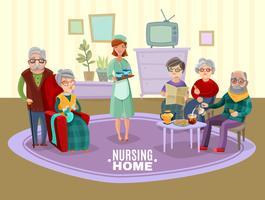 Verpleging oude mensen illustratie