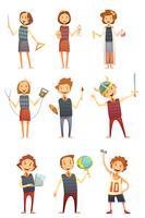 Kinderen onderwijs Retro Cartoon Set