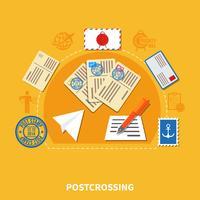 Postcrossing vlakke stijl illustratie