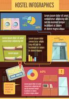 Hostel Infographics platte sjabloon vector