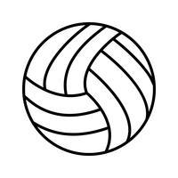 Volley bal lijn zwart pictogram vector