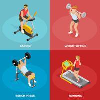 Gym Sport Isometrische Concept vector
