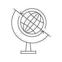 Globe lijn zwart pictogram vector