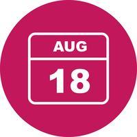 18 augustus Datum op een dagkalender vector