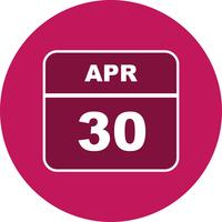 30 april Datum op een eendaagse kalender vector
