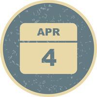 4 april Datum op een eendaagse kalender