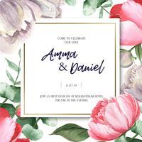Roze van het de bloemhuwelijk van de Pioen bloeiende bloem botanische kaarten van de het huwelijkskaarten aquarelle die op witte achtergrond wordt geïsoleerd. Ontwerp decor uitnodigingskaart, bewaar de datum, bruiloft uitnodiging vieren huwelijk illustrat vector