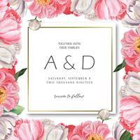 Roze van de het waterverfhuwelijk van de Pioen bloeiende bloem botanische kaarten van de het huwelijksuitnodiging bloemenaquarelle. Ontwerp decor uitnodigingskaart, bewaar de datum, huwelijk illustratie vector. vector
