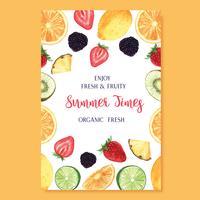 Tropische vruchten zomerseizoen Poster, passievruchten, ananas, fruitig, vers en smakelijk, aquarel waterverf, aquarel vectorillustratie