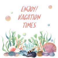 Sea shell leven in de zee zomer reizen op het strand, aquarelle geïsoleerd, vector illustratie Color Coral 2019 trendy
