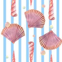 Sea shell marine leven patroon naadloos, reizen vakantie zomer op het strand, aquarelle textiel geïsoleerd, vector illustratie Kleur koraal.