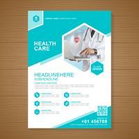 Gezondheidszorg dekking a4 sjabloonontwerp en plat pictogrammen voor een rapport en medische brochureontwerp, flyer, folders decoratie voor afdrukken en presentatie vectorillustratie vector