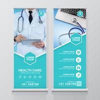 Gezondheidszorg en medisch oprollen ontwerp, standee en banner sjabloon decoratie voor tentoonstelling, afdrukken, presentatie en brochure flyer concept vectorillustratie vector