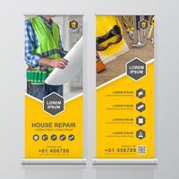 Bouw hulpmiddelen oprollen ontwerp, standee en banner sjabloon decoratie voor tentoonstelling, afdrukken, presentatie vectorillustratie
