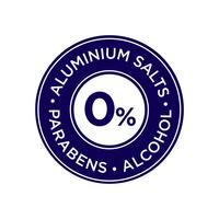 Aluminiumzout, parabenen en alcoholvrij pictogram. vector