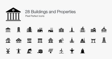 28 Gebouwen en eigenschappen Pixel perfecte pictogrammen. vector
