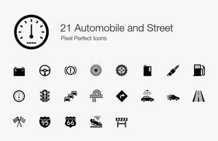 21 Automobiel en straat Pixel perfecte pictogrammen.