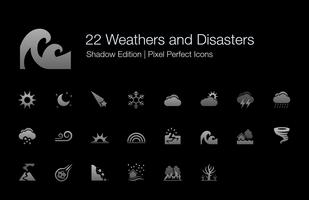 Weathers and Disasters Pixel Perfect Icons Shadow Edition. vector