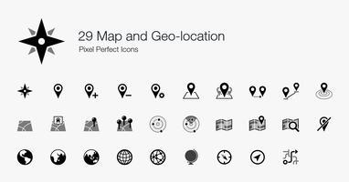 29 Kaart en geografische locatie Pixel Perfect Icons. vector