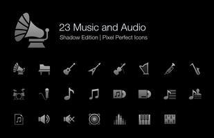Muziek en audio Pixel Perfect Icons Shadow Edition. vector