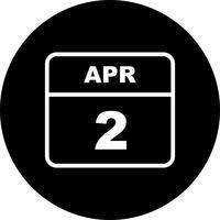 2 april Datum op een eendaagse kalender vector