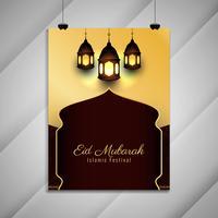 Abstracte religieuze Eid Mubarak flyer achtergrond