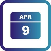9 april Datum op een eendaagse kalender