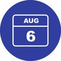 6 augustus Datum op een eendaagse kalender